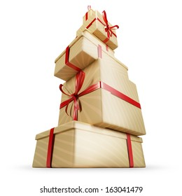Gift tower. Big amount of wrapped present. Isolated on white.