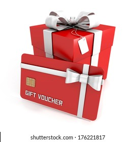 gift voucher, gift card with white ribbon, and gift box isolated on white background. 3d render