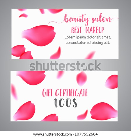 gift voucher template with rose petals business floral card template concept for boutique