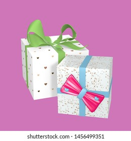 Gift wrap with hearts and bows on pink background. 3d rendering