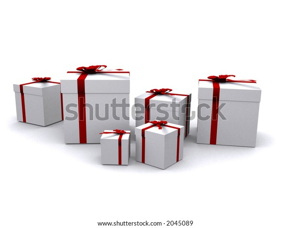 gifts in 3d over a white background
