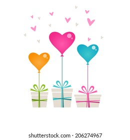 Gifts With Color Balloon In Shape Of Hearts Valentines Day Wedding Birthday Card