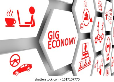GIG ECONOMY concept cell background 3d illustration