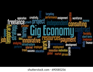 Gig Economy, word cloud concept on black background.