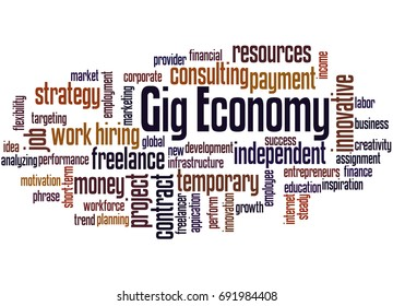 Gig Economy, word cloud concept on white background.