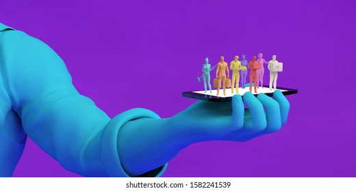 Gig Economy Workers Joining the Online Workforce 3D Illustration Render