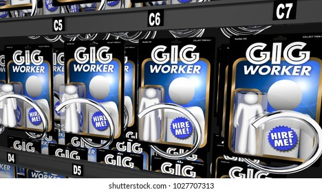 Gig Workers Vending Machine Hire Employees 3d Illustration