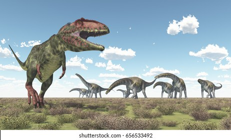 Giganotosaurus and Argentinosaurus Computer generated 3D illustration