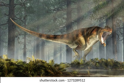 Giganotosaurus, bearing its teeth, is one of the largest known terrestrial carnivores. A carcharodontosaurid theropod dinosaur, the creature stands in a forest of fir trees. 3D Rendering.