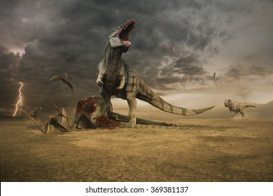 Giganotosaurus defending his next meal against two approaching tyrannosaurs and scavenging pteranodons.