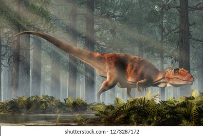 Giganotosaurus, one of the largest known terrestrial carnivores, was a carcharodontosaurid theropod dinosaur. The creature stands in a forest of fir trees with a floor of ferns. 3D Rendering.
