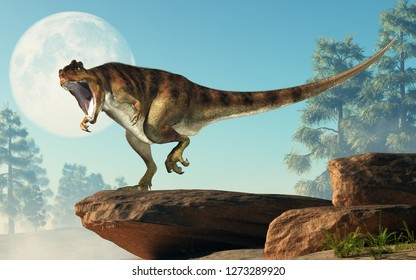 Giganotosaurus, one of the largest known terrestrial carnivores, was a carcharodontosaurid theropod dinosaur. Here it stands on a rock before full moon with an open mouth. 3D Rendering.