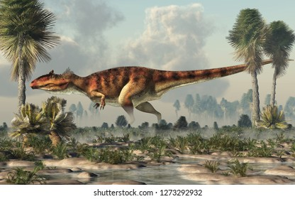 Giganotosaurus, one of the largest known terrestrial carnivores, was a carcharodontosaurid theropod dinosaur. Here it stands in profile in a watery lowland on a cretaceous era afternoon. 3D Rendering.