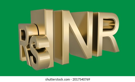 Gilded Indian INR rupee symbol on a neutral green background. Finance concept. Rendering 3D. Isolated