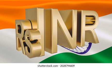 Gilded INR rupee symbol on the background of the flag of India. Finance concept. Rendering 3D.