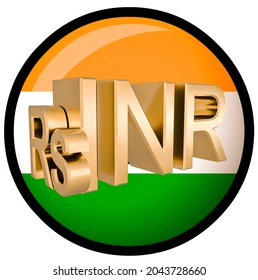 Gilded INR rupee symbol on the background of the flag of India. Finance concept. Rendering 3D. Isolated