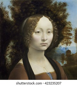 Ginevra de' Benci, by Leonardo da Vinci, c. 1474-78, Italian painting, oil on panel. 16-year-old Ginevra de' Benci was a poet and learned conversationalist from a wealthy Florentine family. This port