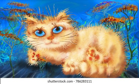 Ginger cat in flowers on blue background