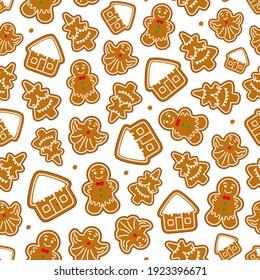 Gingerbread Christmas seamless pattern. Gingerbread pattern.  illustration.