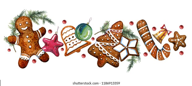 Gingerbread cookie figures with christmass tree decorations and fir branches. Hand drawn watercolor illustration on white background