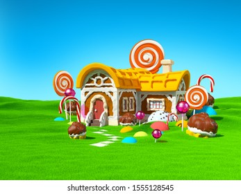Gingerbread fantasy house with candy in green field. 3d illustration.