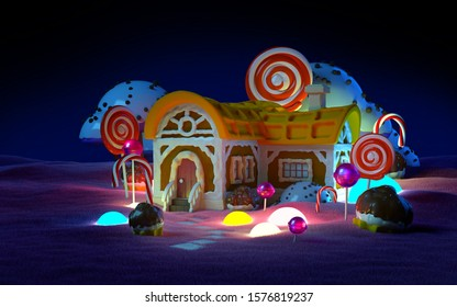 Gingerbread fantasy house with candy in pink field night scene. 3d illustration.
