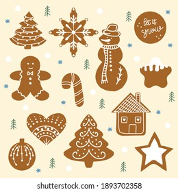 Gingerbread figures.Christmas stickers. Holiday patches for your design. Hand-drawn.  New Year and Merry Christmas.