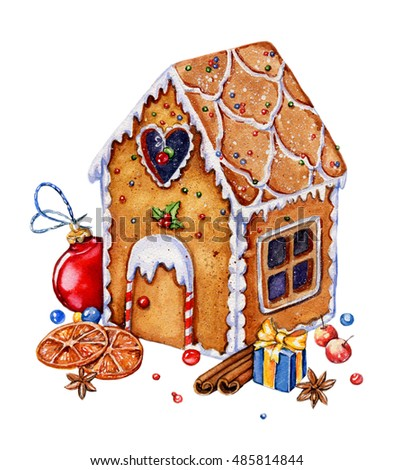 gingerbread house with christmas decorations isolated on a white background watercolor illustration candies