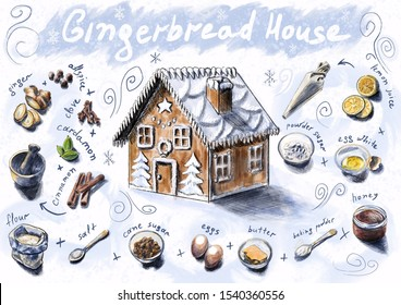 Gingerbread house recipe for Christmas and New Year. Sketch with drawn ingredients for making baking. Ginger, cinnamon, honey, cane sugar and other products. Captions in the figure. White background