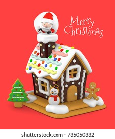 Gingerbread house and Santa Claus for Merry Christmas, 3D illustration