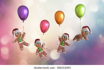 Gingerbread man cookies holding colorful balloons floating on colorful background, 3d illustration