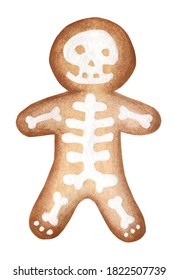 Gingerbread man decorated with glaze in the form of a skeleton. Festive cookies in the shape of a man. Watercolor illustration for Halloween. Isolated on white background.
