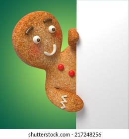 gingerbread man holding white page, blank banner template, 3d cartoon character illustration on green background