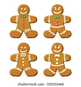 Gingerbread man holiday sweet cookie. Isolated illustration