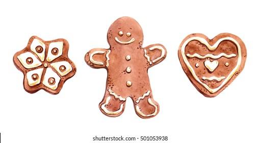 Gingerbread man, star, heart - christmas ginger cookies. Watercolor