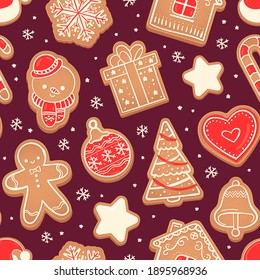 Gingerbread seamless pattern. Xmas cookies red heart, fir tree, snowman and bell, star and snowflake  texture. Gift or present box and house biscuits fabric  illustration
