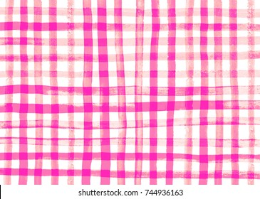 gingham fabric background. watercolor. Abstract noisy edges painted gingham check background.