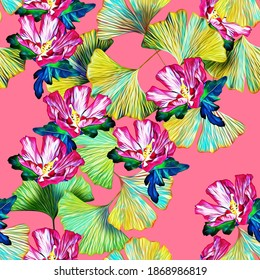 Gingko leaves with exotic flowers seamless pattern Floral watercolor illustration, abstract art.