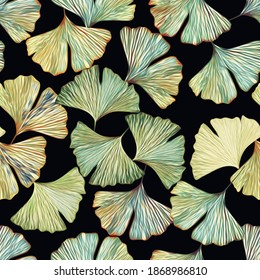 Gingko leaves on floor seamless pattern. Watercolor illustration, floral abstract art.