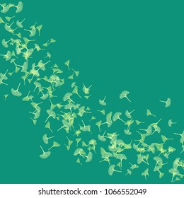 Ginkgo biloba green leaves pattern background