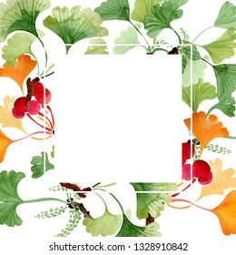 Ginkgo biloba green and yellow leaves. Leaf plant botanical garden floral foliage. Watercolor background illustration set. Watercolour drawing fashion aquarelle isolated. Frame border ornament square.