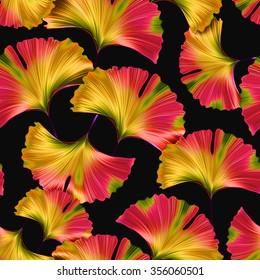 Ginkgo biloba leaf fabric seamless pattern. Silhouette of ginkgo leaves. Nature vintage illustration