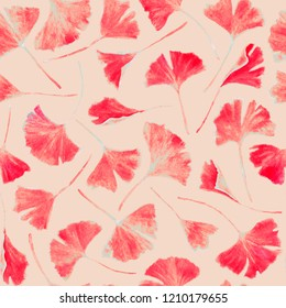 Ginkgo biloba leaves floral watercolor seamless pattern. Tree plant known as ginko or gingko. Ginkgo plant herbal alternative medical care anti-oxidant leaves floral seamless textile in pink.