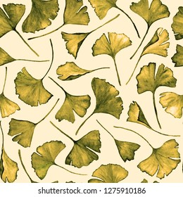 Ginkgo biloba leaves floral watercolor seamless pattern. Garden plant known as ginko or gingko. Ginkgo plant herbal alternative medical care anti-oxidant leaves floral seamless pattern in yellow.