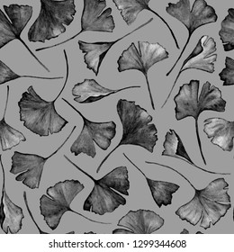 Ginkgo biloba leaves floral watercolor seamless pattern. Tree plant known as ginko or gingko. Ginkgo plant herbal alternative medical care anti-oxidant leaves floral seamless pattern in grey.