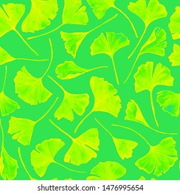 Ginkgo biloba leaves floral watercolor seamless pattern. Tree plant known as ginko or gingko. Ginkgo plant herbal alternative medical care anti-oxidant leaves floral seamless wallpaper in green.