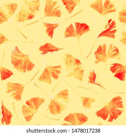Ginkgo biloba leaves floral watercolor seamless pattern. Garden plant known as ginko or gingko. Ginkgo plant herbal alternative medical care anti-oxidant leaves floral seamless backdrop in yellow.