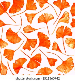 Ginkgo biloba leaves floral watercolor seamless pattern. Park plant known as ginko or gingko. Ginkgo plant herbal alternative medical care anti-oxidant leaves floral seamless illustration in colors.
