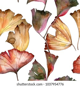 Ginkgo leaves pattern in a watercolor style. Aquarelle leaf for background, texture, wrapper pattern, frame or border.
