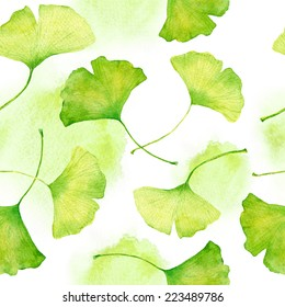 Ginkgo leaves pattern. Watercolour